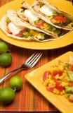 Tacos della tortiglia piegato manzo Fotografie Stock Libere da Diritti