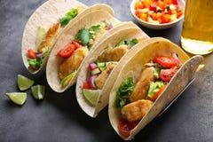 Tacos di pesci saporito Fotografie Stock
