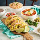Tacos with eggs for breakfast stock image