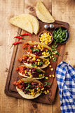 Tacos with ground beef, corn and red beans Royalty Free Stock Image