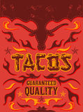Tacos - grunge - vintage vector poster. Grunge effects can be easily removed Royalty Free Stock Images