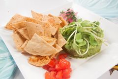 Tacos with guacamole. A dish of tacos with mexican giuacamole Royalty Free Stock Photos