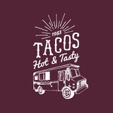 Tacos,Hot and Tasty logo. Vector vintage mexican food truck icon.Retro hand drawn hipster street snack car illustration. Stock Photo