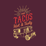 Tacos,Hot and Tasty logo. Vector vintage mexican food truck icon.Retro hand drawn hipster street snack car illustration. Royalty Free Stock Image