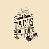 Tacos,Hot and Tasty logo. Vector vintage mexican food truck icon.Retro hand drawn hipster street snack car illustration. Royalty Free Stock Photography
