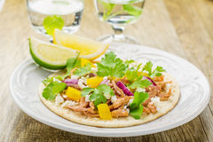 Tacos for lunch with chicken, pineapple salsa Royalty Free Stock Photos
