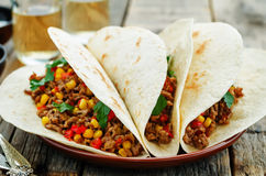 Tacos with meat, corn and peppers Royalty Free Stock Photo