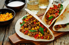 Tacos with meat, corn and peppers Royalty Free Stock Photos