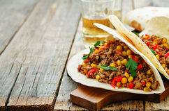 Tacos with meat, corn and peppers Stock Photo