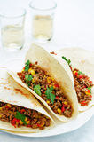 Tacos with meat, corn and peppers Stock Image