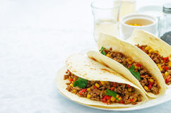 Tacos with meat, corn and peppers Royalty Free Stock Photography