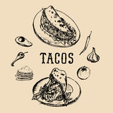Tacos menu in vector. Tacos illustrations. Vintage hand drawn Mexican quick meals collection.Fast-food restaurant icons. Royalty Free Stock Photos