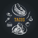 Tacos menu in vector. Tacos illustrations. Vintage hand drawn Mexican quick meals collection.Fast-food restaurant icons. Royalty Free Stock Images