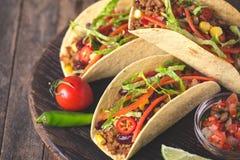 Tacos mexicain avec du boeuf, des légumes et des épices photos libres de droits