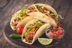 Tacos mexicain avec du boeuf, des légumes et des épices image libre de droits