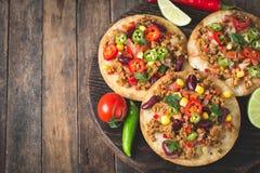 Tacos mexicain avec du boeuf, des légumes et des épices photos stock