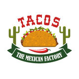 Tacos Mexican Fast Food Restaurant Vector Icon Royalty Free Stock Photo