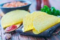 Tacos. In mexican yellow corn tortilla , empty tortilla stock photo
