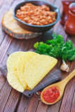 Tacos. In mexican yellow corn tortilla , empty tortilla royalty free stock images