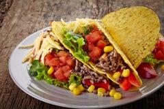 Tacos mexicanos de la comida Imágenes de archivo libres de regalías