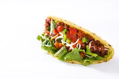 Tacos mexicanos tradicionales con la carne y las verduras, aisladas Fotos de archivo