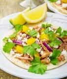 Tacos para el almuerzo con el pollo, salsa de la piña Imagenes de archivo