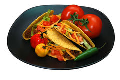 Tacos on Plate Isolated Royalty Free Stock Photography
