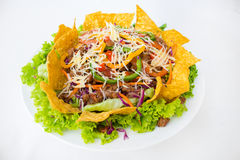 Tacos on a platter with tortillas shot mexican food Stock Photography