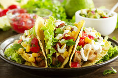 Tacos. With pork and tomato salsa stock image