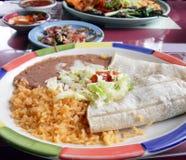 Tacos, Reis und Refried Bohnen Lizenzfreies Stockbild