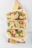 Tacos with salsa and shrimp stock photo