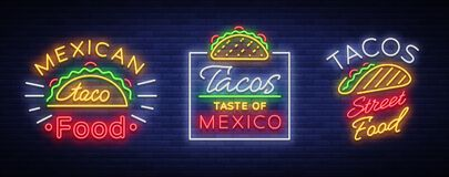 Tacos set of neon-style logos. Collection of neon signs,. Symbols, bright billboard, nightly advertising of Mexican food Tako. Vector illustration for your Stock Image