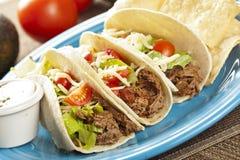 Tacos Shredded caseiros frescos da carne Imagem de Stock