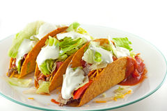 Tacos With Sour Cream Topping Royalty Free Stock Images