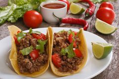 Tacos stuffed with ground beef and chili Royalty Free Stock Photo