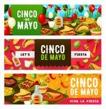 Tacos, tequila et sombrero de fiesta de Cinco de Mayo illustration de vecteur
