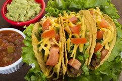 Tacos. Three tacos on a bed of lettuce with gaucamole and salsa on the side stock image