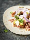 Tacos tirados mexicoamericanos rústico del cerdo Imagen de archivo libre de regalías