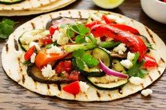 Tacos vegetarianos del bocado Fotografía de archivo libre de regalías