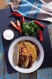 Tacos z Chili con carne Zdjęcie Stock