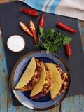Tacos z Chili con carne Zdjęcia Royalty Free