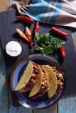 Tacos z Chili con carne Fotografia Stock