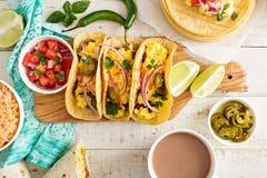 Tacos z jajkami dla śniadania Fotografia Royalty Free