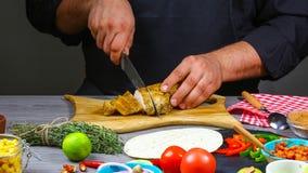 Tacos z mięsem i warzywami - Meksykański jedzenie styl Kulinarny przepis zdjęcia royalty free