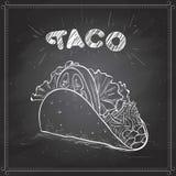 Tacoscetch på ett svart bräde Royaltyfria Bilder