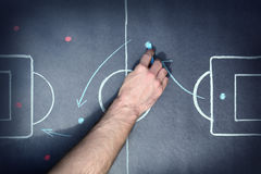 Tactic board. Close up shot of a soccer tactic board Royalty Free Stock Images