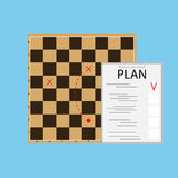 Tactic plan business. Checkerboard and organization, vector illustration Stock Photo