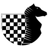 Tactic and strategy in business. Chessboard with scheme and black horse figure. Vector illustration Stock Images
