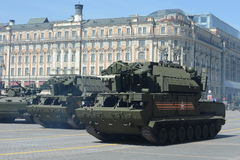 Tactical anti-aircraft missile complex tor-М2У at the rehearsal of the parade Stock Photography