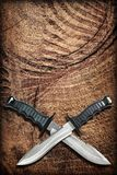 Tactical Combat Hunting Survival Bowie Knives With Crossed Blades On Grunge Vignetted Old Battered Grooved Wood Background.  Stock Image